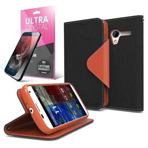 Black/ Brown CellLine Faux Leather Diary Flip Case w/ ID Slots, Bill Fold, Magnetic Closure & Free Screen Protector for Motorola Moto X