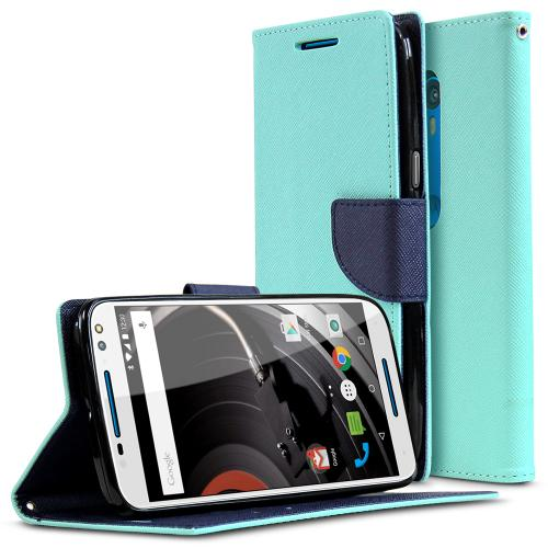 Motorola Moto X Pure Edition Case, [Mint/ Navy] Faux Leather Front Flip Cover Diary Wallet Case w/ Magnetic Flap