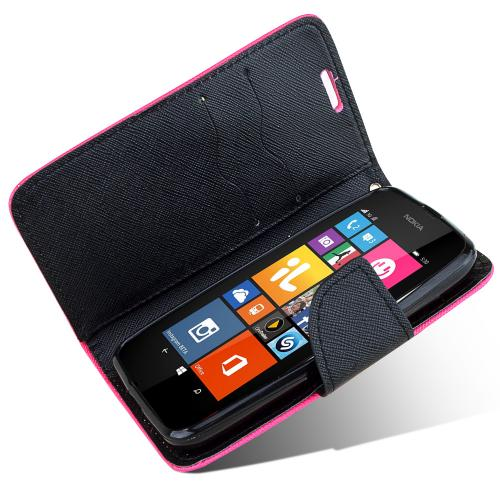 Nokia Lumia 530 Wallet Case [Hot Pink/black] Slim & Protective Flip Cover Diary Case Featuring ID Slots & Magnetic Flap Closure