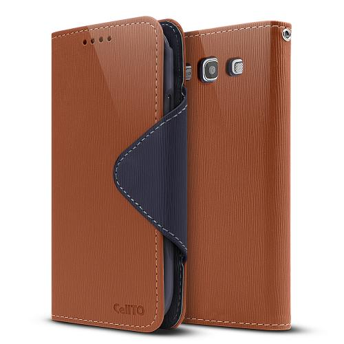 Brown/ Navy Blue Exclusive Faux Leather Diary Flip Case w/ ID Slots & Bill Fold for Samsung Galaxy S3