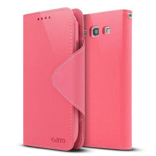 Hot Pink/ Baby Pink Faux Leather Diary Flip Case w/ ID Slots, Bill Fold, & Magnetic Closure for Samsung Galaxy S3