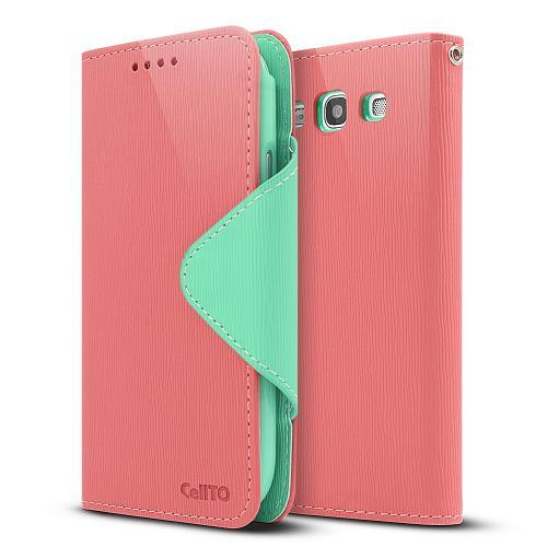 Light Melon/ Mint Exclusive Faux Leather Diary Flip Case w/ ID Slots & Bill Fold for Samsung Galaxy S3