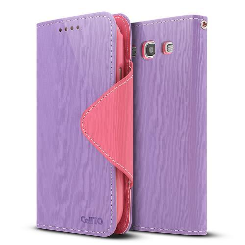 Lavender/ Baby Pink Exclusive Faux Leather Diary Flip Case w/ ID Slots & Bill Fold for Samsung Galaxy S3