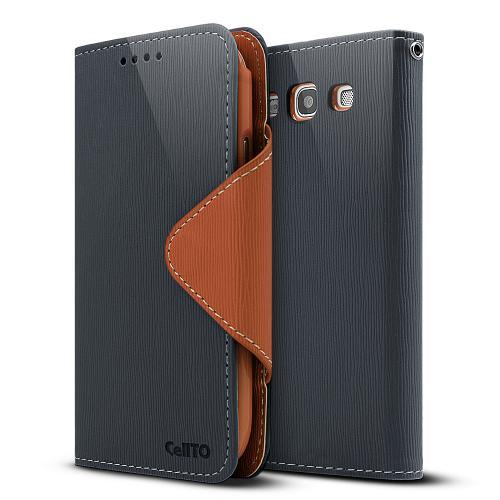 Navy Blue/ Brown Exclusive  Faux Leather Diary Flip Case w/ ID Slots & Bill Fold for Samsung Galaxy S3