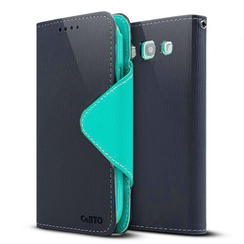 Navy/ Mint Faux Leather Diary Flip Case w/ ID Slots, Bill Fold, Magnetic Closure & Free Screen Protector for Samsung Galaxy S3