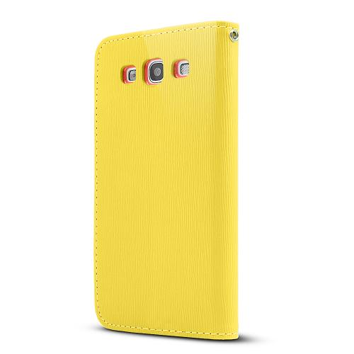 Yellow/ Orange Exclusive Faux Leather Diary Flip Case w/ ID Slots & Bill Fold for Samsung Galaxy S3
