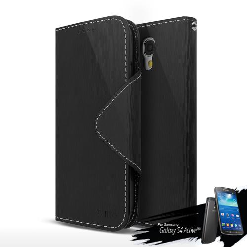 Black Faux Leather Diary Flip Case w/ Magnetic Closure, ID Slots, Bill Fold + Free Screen Protector for Samsung Galaxy S4 Active