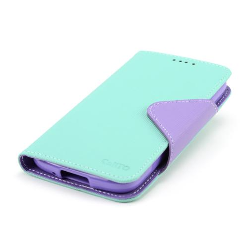 Mint/ Lavender Faux Leather Diary Flip Case w/ Magnetic Closure, ID Slots, Bill Fold + Free Screen Protector for Samsung Galaxy S4 Active