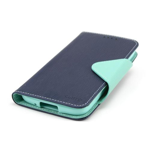 Navy/ Mint Faux Leather Diary Flip Case w/ Magnetic Closure, ID Slots, Bill Fold + Free Screen Protector for Samsung Galaxy S4 Active