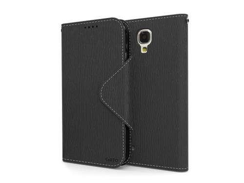 Black AccessoryGeeks Faux Leather Diary Flip Case w/ ID Slots, Bill Fold, & Magnetic Closure for Samsung Galaxy S4