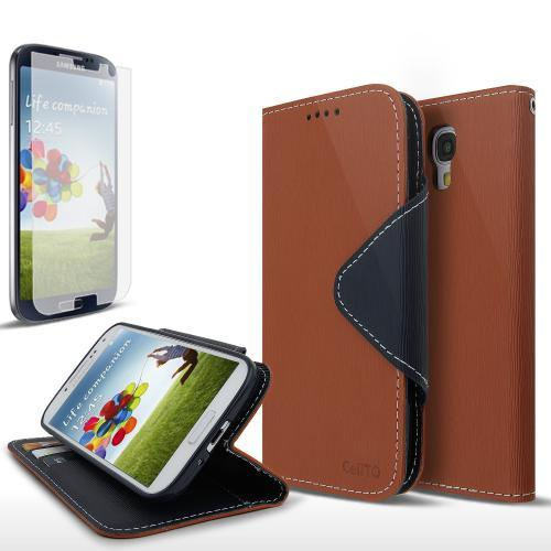 Brown/ Navy Blue Exclusive AccessoryGeeks Faux Leather Diary Flip Case w/ ID Slots & Bill Fold + Free Screen Protector for Samsung Galaxy S4