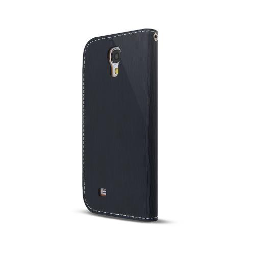 Navy Blue/ Brown Exclusive AccessoryGeeks Faux Leather Diary Flip Case w/ ID Slots & Bill Fold + Free Screen Protector for Samsung Galaxy S4