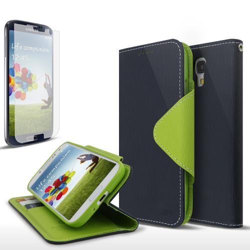 Navy Blue/ Green Exclusive AccessoryGeeks Faux Leather Diary Flip Case w/ ID Slots & Bill Fold + Free Screen Protector for Samsung Galaxy S4