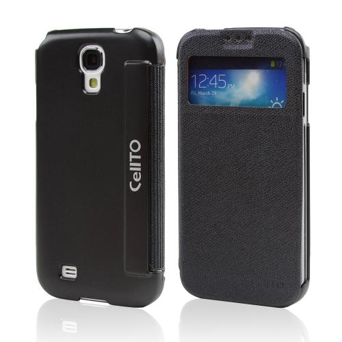 Black  S-View Diary Flip Cover for Samsung Galaxy S4