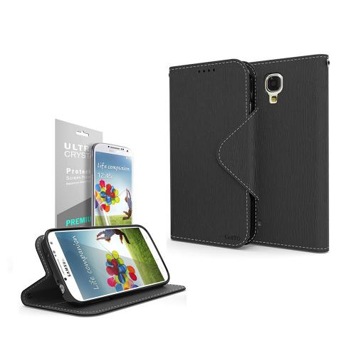 Black Faux Leather Diary Flip Case w/ S-View, ID Slots, Bill Fold, Magnetic Closure & Free Screen Protector for Samsung Galaxy S4