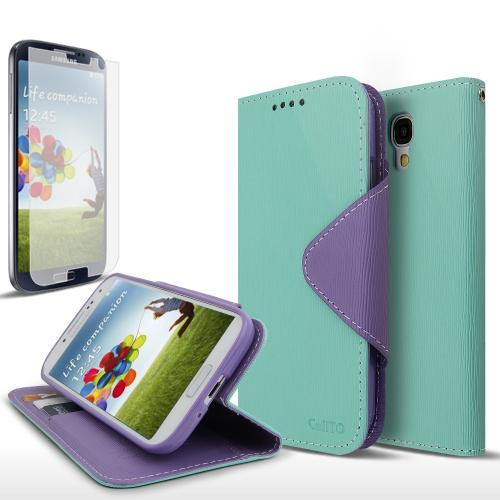 Mint/ Lavender Exclusive AccessoryGeeks Faux Leather Diary Flip Case w/ Magnetic Closure, ID Slots, Bill Fold + Free Screen Protector for Samsung Galaxy S4