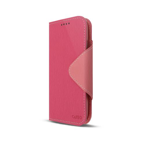 Hot Pink/ Baby Pink Faux Leather Diary Flip Case w/ S-View, ID Slots, Bill Fold, Magnetic Closure & Free Screen Protector for Samsung Galaxy S4