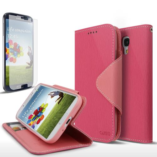 Hot Pink/ Baby Pink CellLine Faux Leather Diary Flip Case w/ S-View, ID Slots, Bill Fold, Magnetic Closure & Free Screen Protector for Samsung Galaxy S4