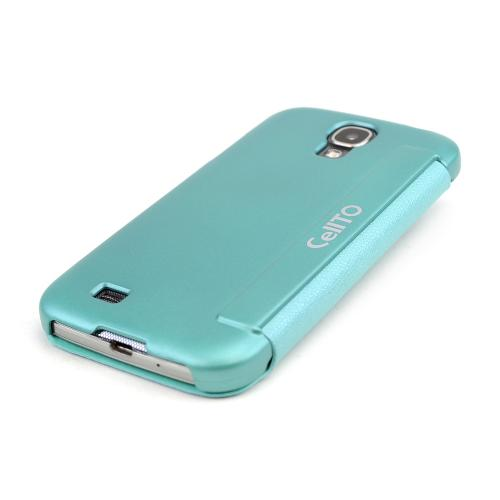 Dark Mint S-View Diary Flip Cover w/ Free Screen Protector for Samsung Galaxy S4