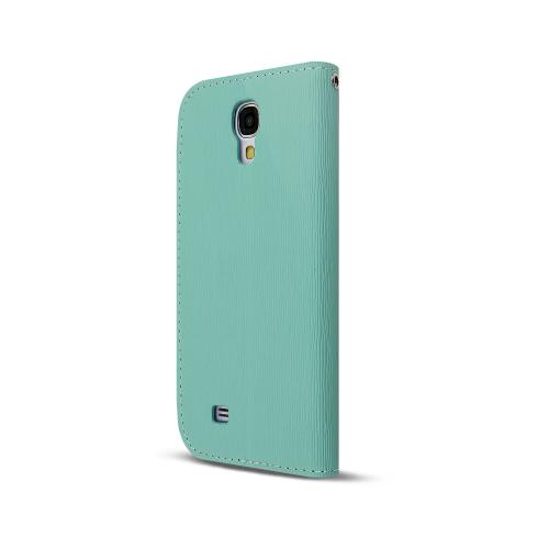 Mint/ Lavender Faux Leather Diary Flip Case w/ S-View, ID Slots, Bill Fold, Magnetic Closure & Free Screen Protector for Samsung Galaxy S4