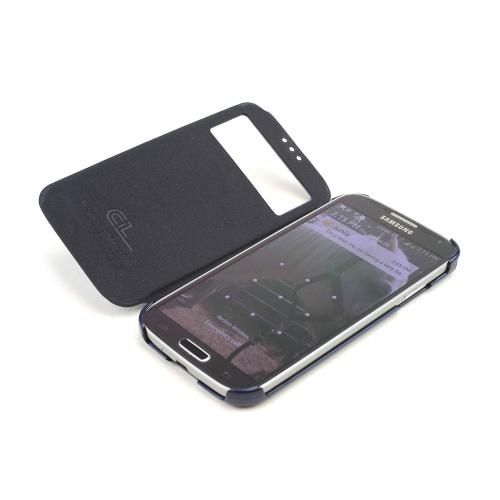 Navy Blue S-View Diary Flip Cover w/ Free Screen Protector for Samsung Galaxy S4
