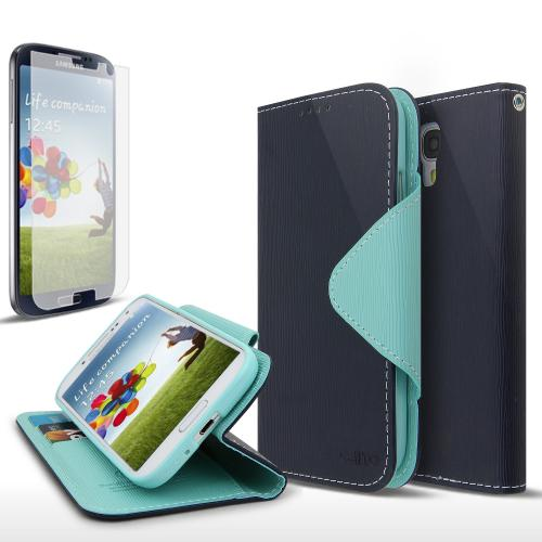 Navy/ Mint Faux Leather Diary Flip Case w/ S-View, ID Slots, Bill Fold, Magnetic Closure & Free Screen Protector for Samsung Galaxy S4