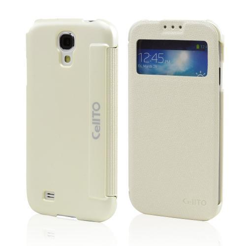 White S-View Diary Flip Cover for Samsung Galaxy S4