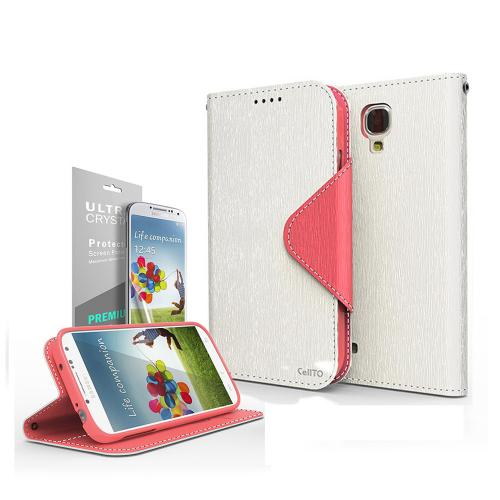 White/ Hot Pink  Faux Leather Diary Flip Case w/ S-View, ID Slots, Bill Fold, Magnetic Closure & Free Screen Protector for Samsung Galaxy S4