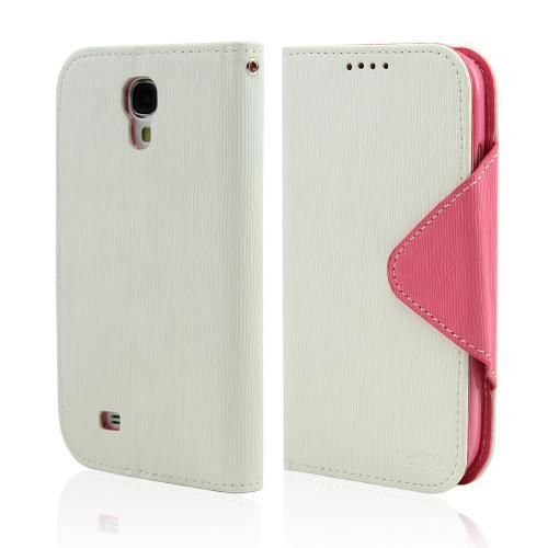 Samsung Galaxy S4 Faux Leather Diary Flip Case w/ ID Slots Bill Fold & Magnetic Closure [White/Hot Pink]