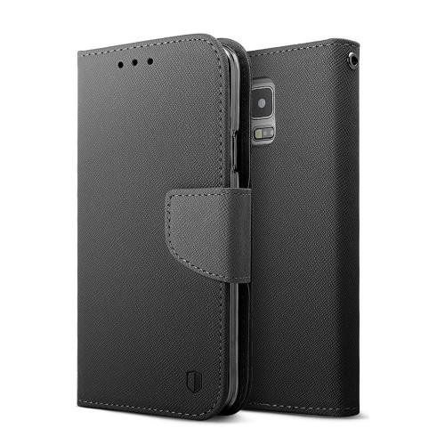 Samsung Galaxy S5 Wallet Case, REDshield [Black]  Faux Leather Diary Flip Case w/ ID Slots, Wrist Strap, & Magnetic Closure