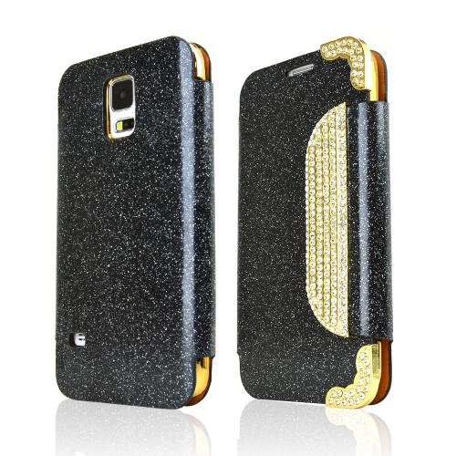 REDshield Black Glitter Samsung Galaxy S5 Wallet Hard Case [pu/faux Leather] With Gold Accents & Shiny Sparkling Gem; Fashion Slim Wallet Case Cover