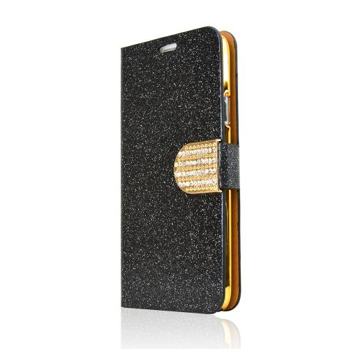 REDshield Black Glitter Samsung Galaxy S5 Wallet Hard Case Shiny Sparkling Gem, & Stand Feature; Fashion Slim Wallet Case Cover