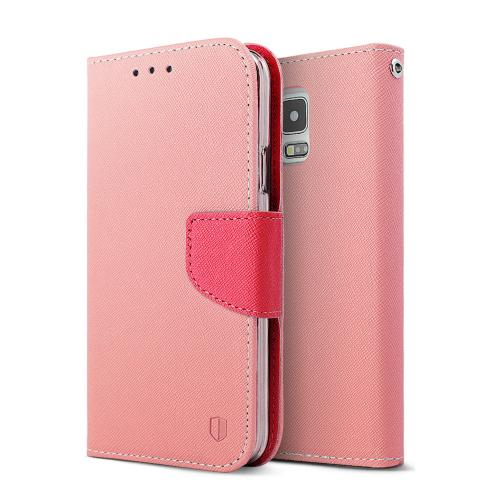 Baby Pink/ Hot Pink Red Shield Faux Leather Diary Flip Case W/ Id Slots, Wrist Strap, & Snap Close Magnet + Free Screen Protector Samsung Galaxy S5