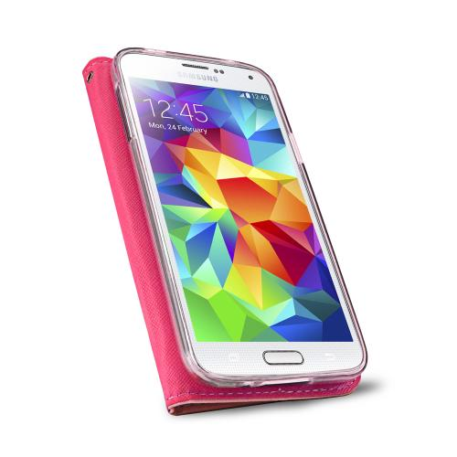 Samsung Galaxy S5 Wallet Case, REDshield [Baby Pink/ Hot Pink]  Faux Leather TPU Case w/ Credit Card Slots, Wrist Strap, Stand Function + Free Screen Protector
