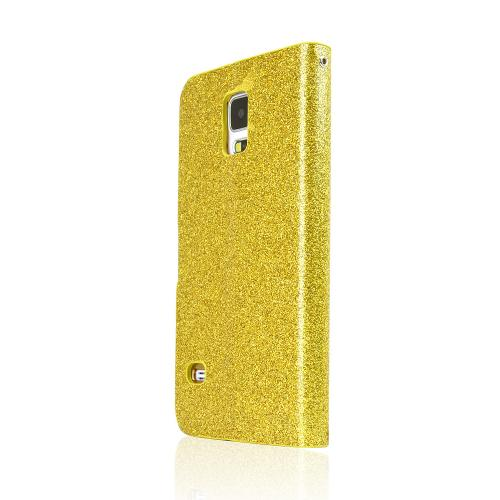 REDshield Gold Glitter Samsung Galaxy S5 Wallet Hard Case; [pu/faux Leather] With Gold Accents, Shiny Sparkling Gem, & Stand Feature