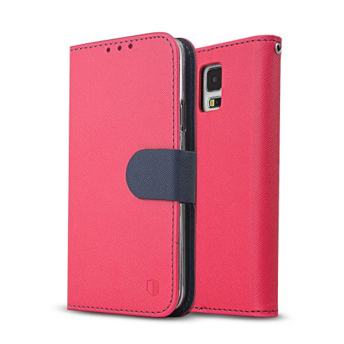 Galaxy S5 Wallet Case by REDShield | [Hot Pink/Navy] Faux Leather TPU Case w/ Credit Card Slots, Wrist Strap, Stand Function + Free Screen Protector