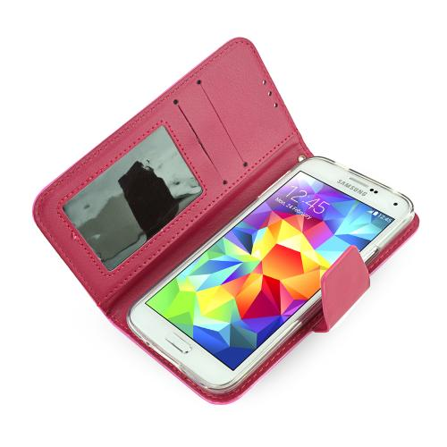 Galaxy S5 Wallet Case by REDShield | [Hot Pink/Red] Faux Leather TPU Case w/ Credit Card Slots, Wrist Strap, Stand Function + Free Screen Protector