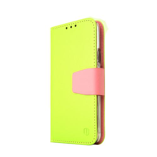 Galaxy S5 Wallet Case by REDShield | [Green/Baby Pink] Faux Leather TPU Case w/ Credit Card Slots, Wrist Strap, Stand Function