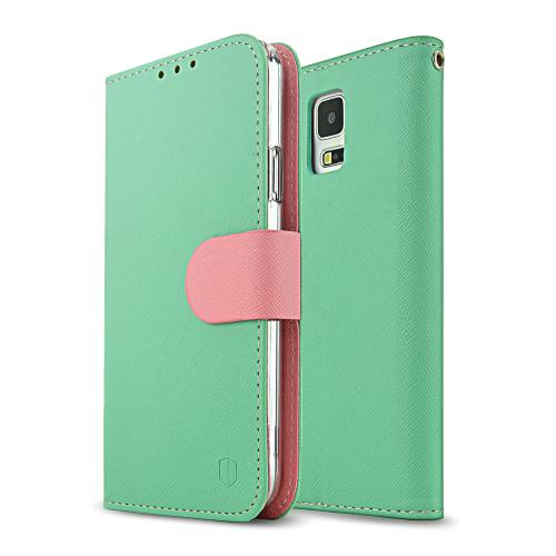 [REDShield] Mint/ Baby Pink Samsung Galaxy S5 Wallet Case Cover [PU/ Faux Leather]; Perfect fit as Best Coolest Premium Design Cases w/ Credit Card Slots, Wrist Strap, Stand Function + Free Screen Protector!