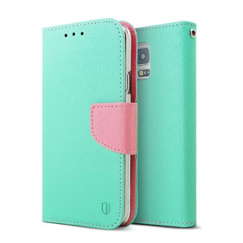 Mint/Baby Pink RED SHIELD Faux Leather Diary Flip Case w/ ID Slots, Wrist Strap, & Magnetic Closure for Samsung Galaxy S5