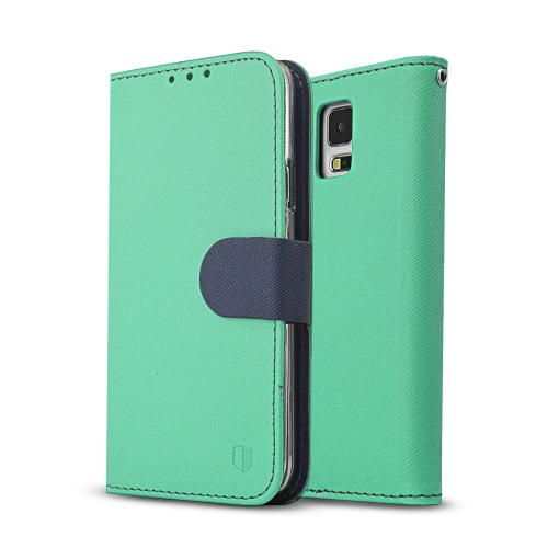 [redshield] Mint/ Navy Samsung Galaxy S5 Wallet Case Cover [pu/ Faux Leather]; Credit Card Slots, Wrist Strap, Stand Function