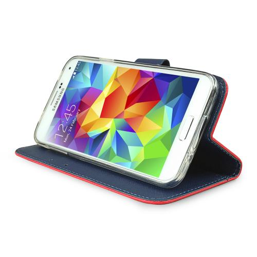 Samsung Galaxy S5 Wallet Case, REDshield [Red/ Navy]  Faux Leather TPU Case w/ Credit Card Slots, Wrist Strap, Stand Function + Free Screen Protector