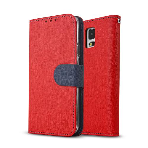Galaxy S5 Wallet Case by REDShield | [Red/Navy] Faux Leather TPU Case w/ Credit Card Slots, Wrist Strap, Stand Function + Free Screen Protector