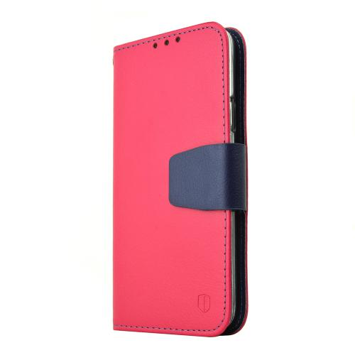 Samsung Galaxy S5 Wallet Case, REDshield [Rose Pink/Navy]  Faux Leather w/ Credit Card Slots, Wrist Strap & Stand Function + Free Screen Protector