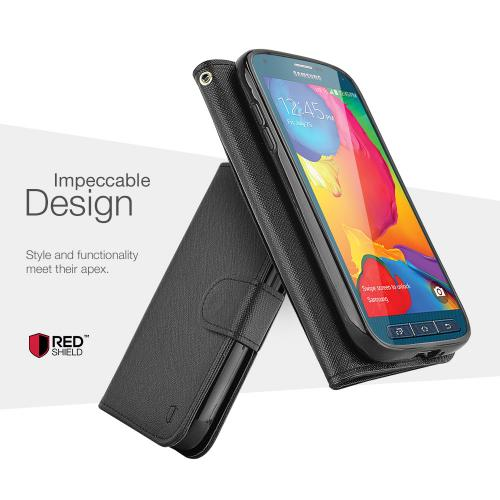 Galaxy S5 Sport Wallet Case by REDShield | [Black] Faux Leather TPU Case w/ Credit Card Slots, Wrist Strap, Stand Function + Free Screen Protector