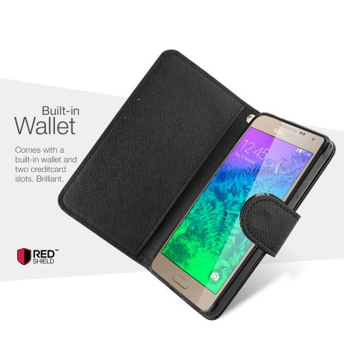 Black Redshield Samsung Galaxy Alpha Faux Leather Diary Flip Stand Case W/ Id Slots, Bill Fold, & Snap Close Magnet + Free Screen Protector