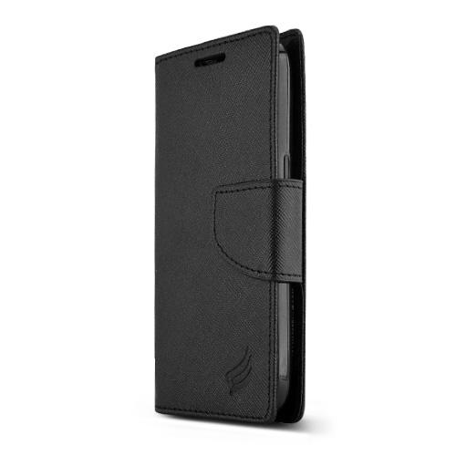 Black Samsung Galaxy Avant Faux Leather Diary Flip Case w/ ID Slots, Bill Fold, & Magnetic Closure - Keep Everything You Need in 1 Place!