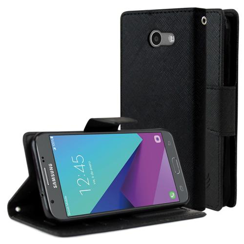 Samsung Galaxy J3 Emerge Diary Case, [Black] Kickstand Feature Luxury Faux Saffiano Leather Front Flip Cover with Built-in Card Slots, Magnetic Flap with Travel Wallet Phone Stand