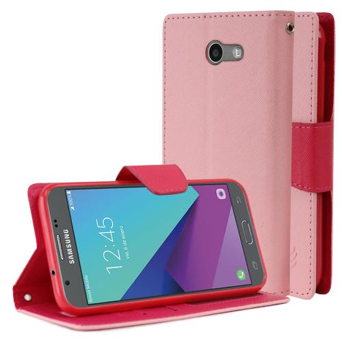 Samsung Galaxy J3 Emerge Diary Case, [Baby Pink/ Hot Pink] Kickstand Feature Luxury Faux Saffiano Leather Front Flip Cover with Built-in Card Slots, Magnetic Flap