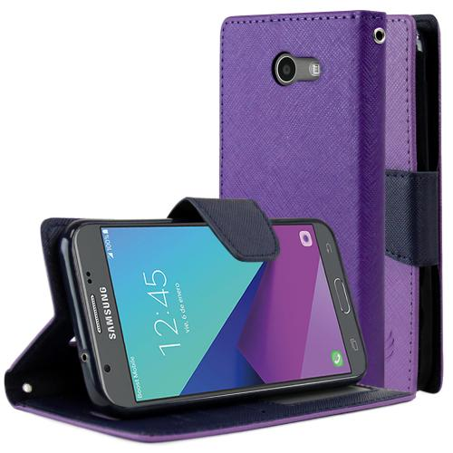 Samsung Galaxy J3 Emerge Diary Case, [Purple/ Blue] Kickstand Feature Luxury Faux Saffiano Leather Front Flip Cover with Built-in Card Slots, Magnetic Flap with Travel Wallet Phone Stand